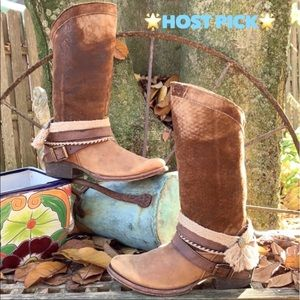 CORRAL BUCKLE Distressed Leather Strap Riding Boot